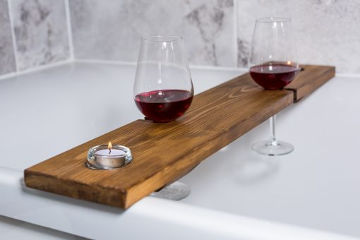 Bath Caddy for 2 Wine Glasses